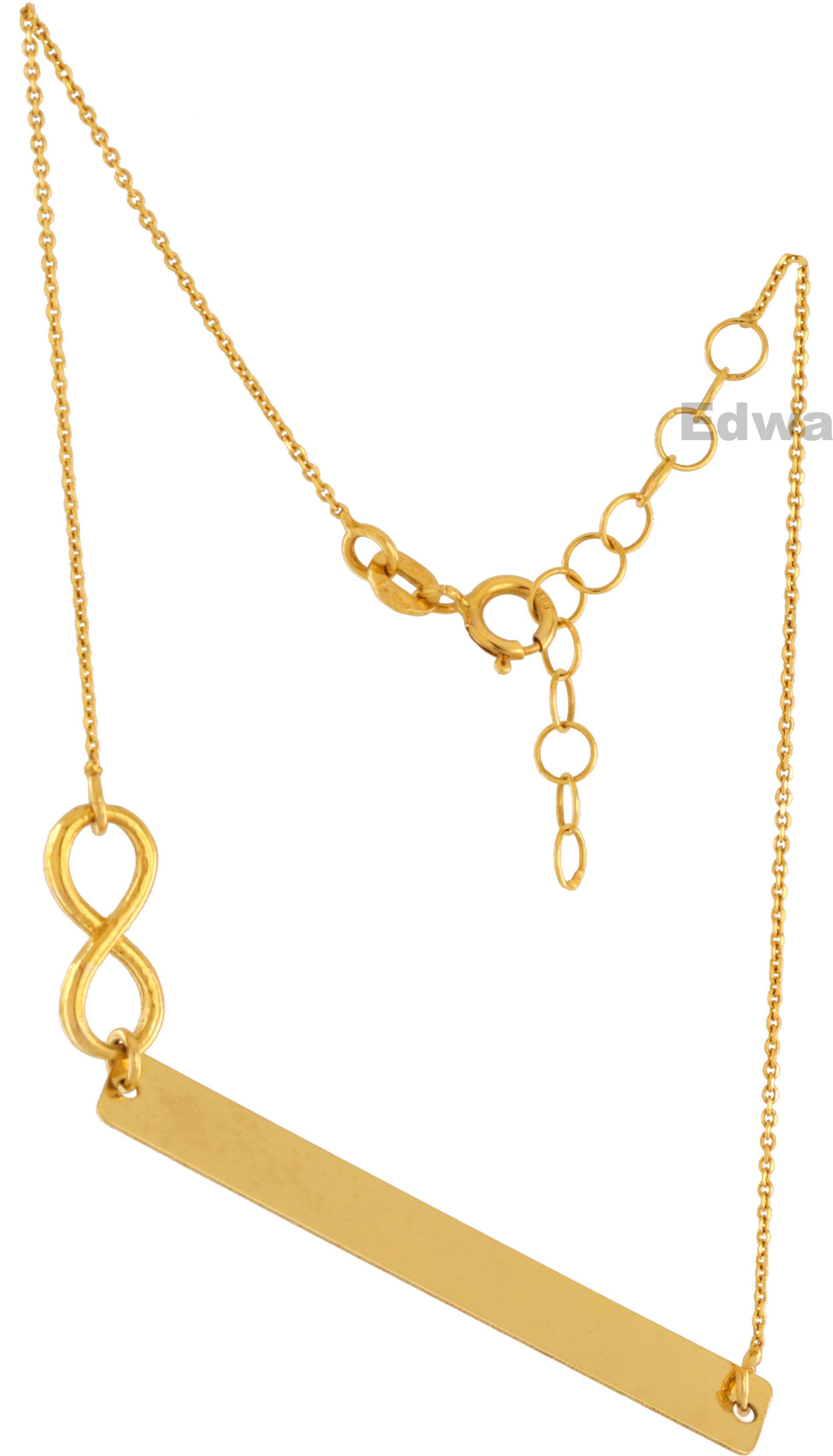 Bransoletka złota celebrytka z blaszką i nieskończonością pr.585