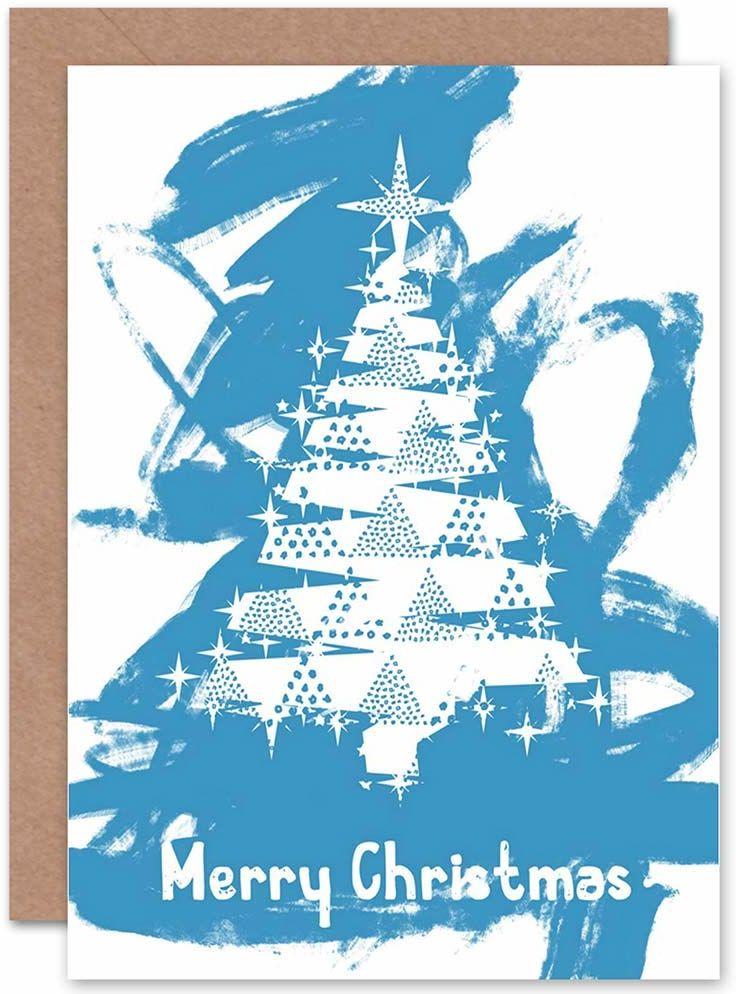 Świąteczne Boże Narodzenie abstrakcyjny niebieski drzewo nowa sztuka kartka podarunkowa