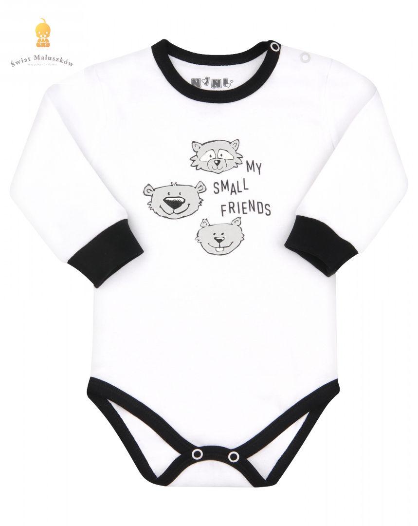 Body niemowlęce dł. rękaw z bawełny organicznej białe dla chłopca NI-NI r.74-86