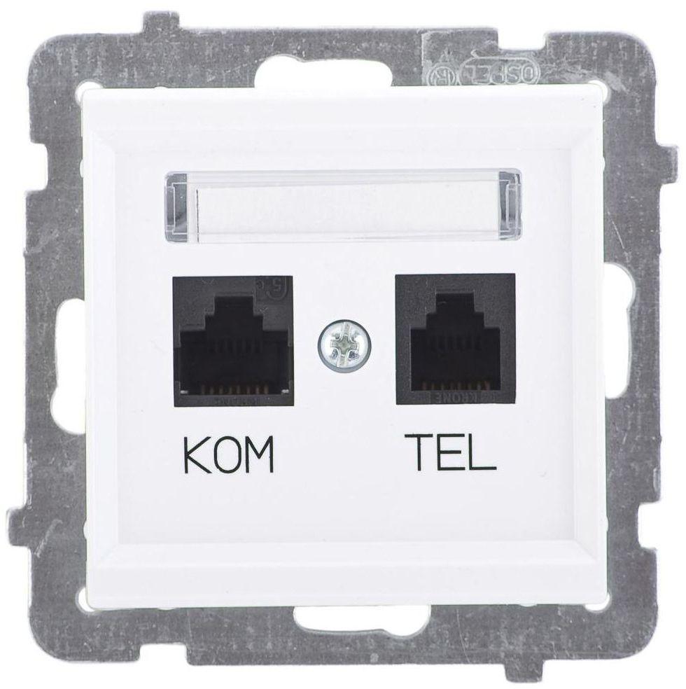 Gniazdo telefoniczno - komputerowe SONATA Biały OSPEL
