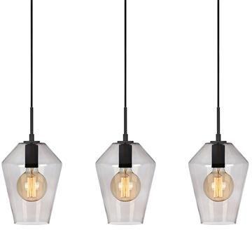 Lampa wisząca Retro 107132 Markslojd czarna potrójna lampa wisząca z przydymionymi kloszami