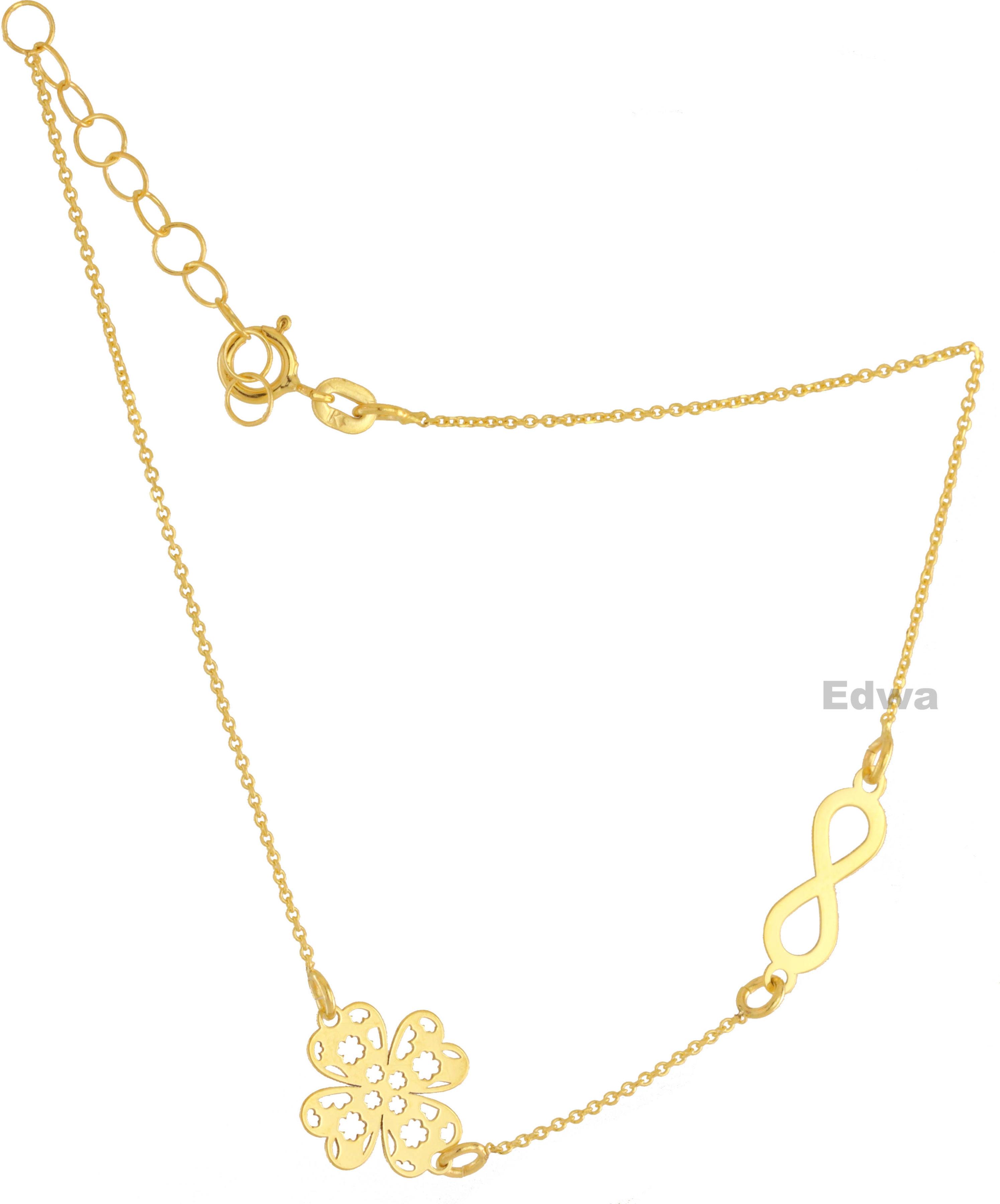 Bransoletka celebrytka złota z koniczynką i nieskończonością pr.585