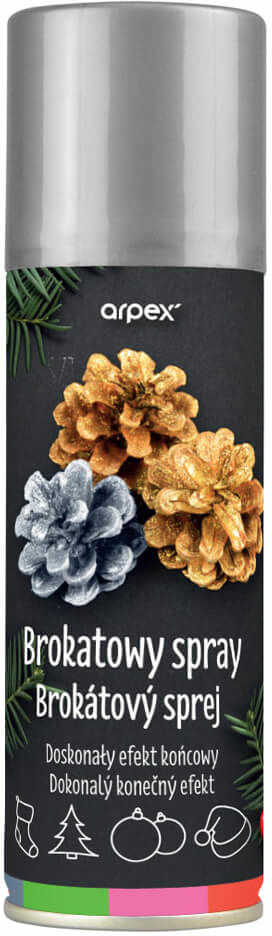 Farba dekoracyjna w sprayu - brokatowa srebrna - 100 ml