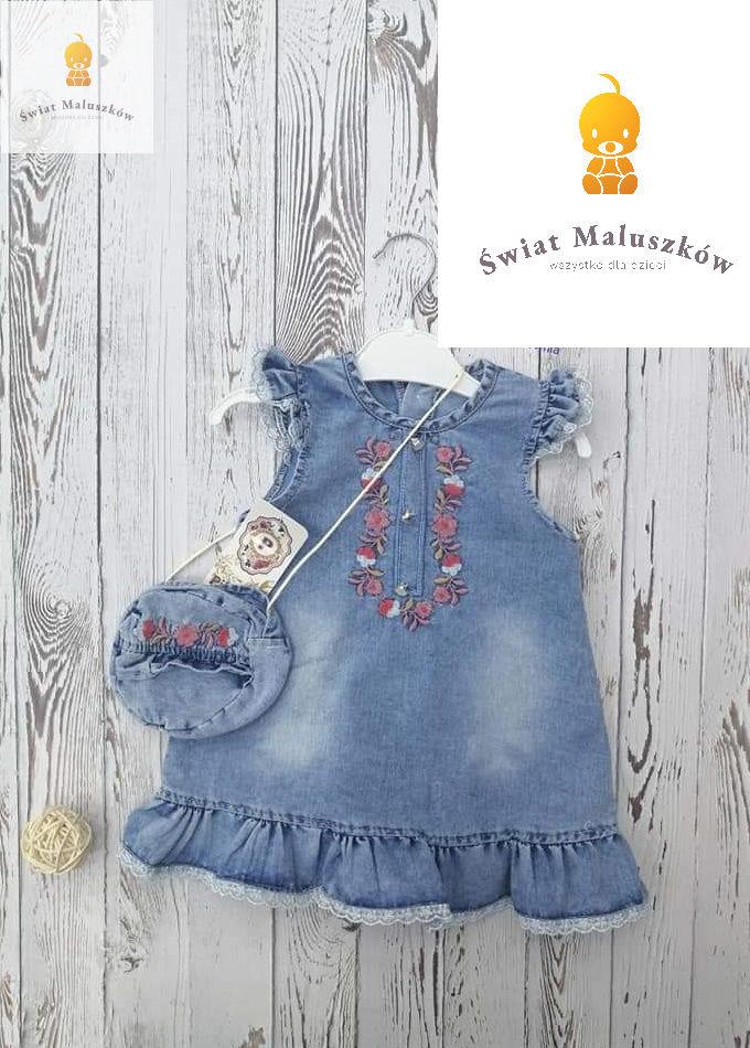 Sukienka jeansowa z torebeczką dla dziewczynki 9-12m (r.74)