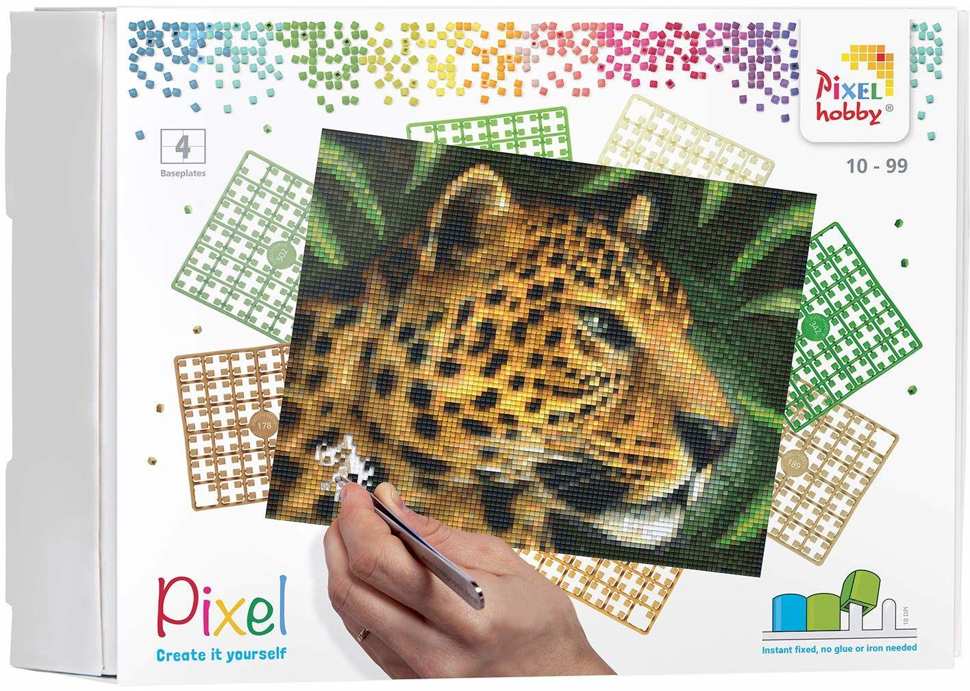 Pixel P090042 mozaik opakowanie na prezent leopard. Obraz pikseli około 25,4 x 20,3 cm rozmiar do tworzenia dla dzieci i dorosłych, kolorowy