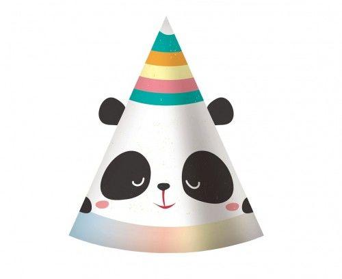 Czapeczki papierowe Miś Panda, 6 szt.