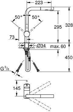 Minta Grohe bateria zlewozmywakowa wyciągana wylewka i zraszaczem supersteel - 30274 DC0