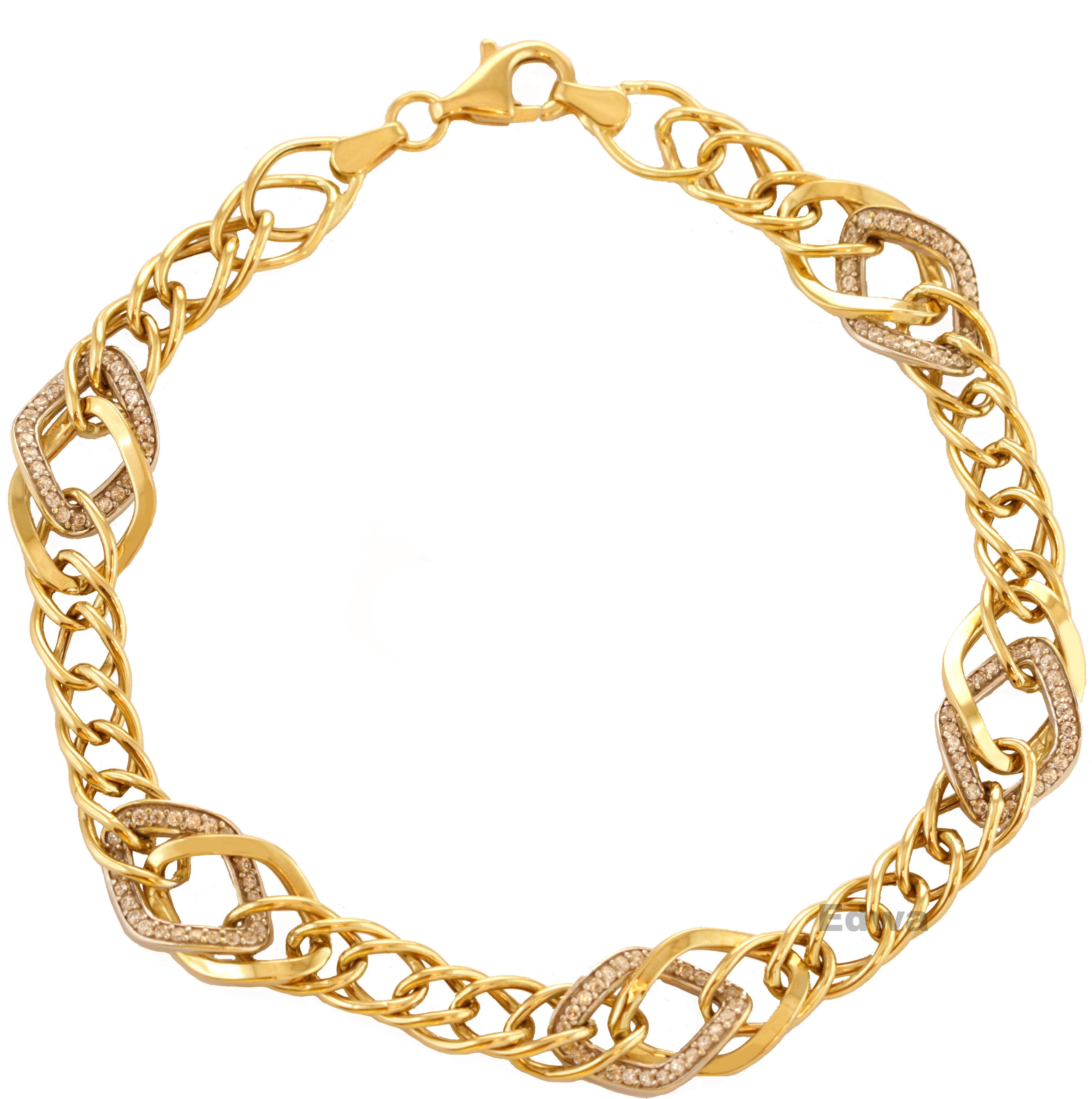 Bransoletka złota z cyrkoniami pr.585 21 cm