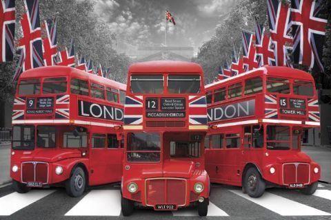 Londyn czerwone autobusy - plakat