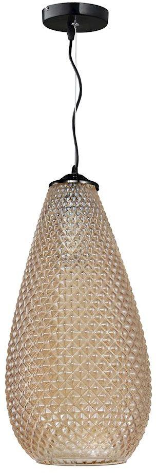 Milagro PETRA ML5482 lampa wisząca bursztynowa klosz owalny z widocznymi wytłoczeniami zwisa na pofalowanym zawiesiu 1xE27 18cm