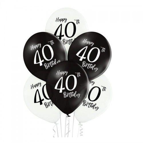 Balony na 40 urodziny Happy Birthday, białe i czarne, 6 szt.