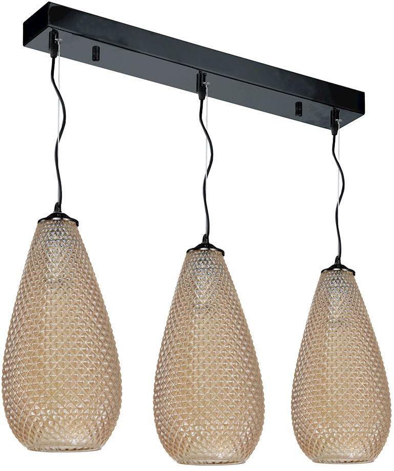 Milagro PETRA ML5483 lampa wisząca bursztynowy klosze owalne z widocznymi wytłoczeniami zwisają na pofalowanych zawiesiach 3xE27 65cm