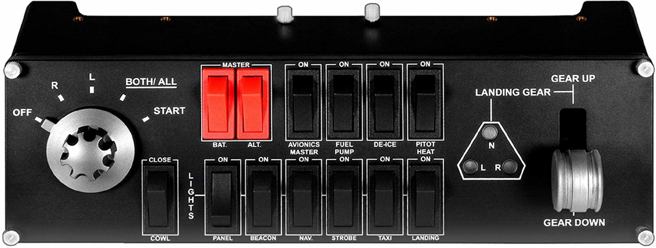 Logitech G Saitek Pro panel przełącznika lotowego, profesjonalny kontroler przełącznika symulacji, wyświetlacz LCD, pięciopozycyjna tarcza magnetyczna, realistyczna kontrola biegów, USB, PC - czarny