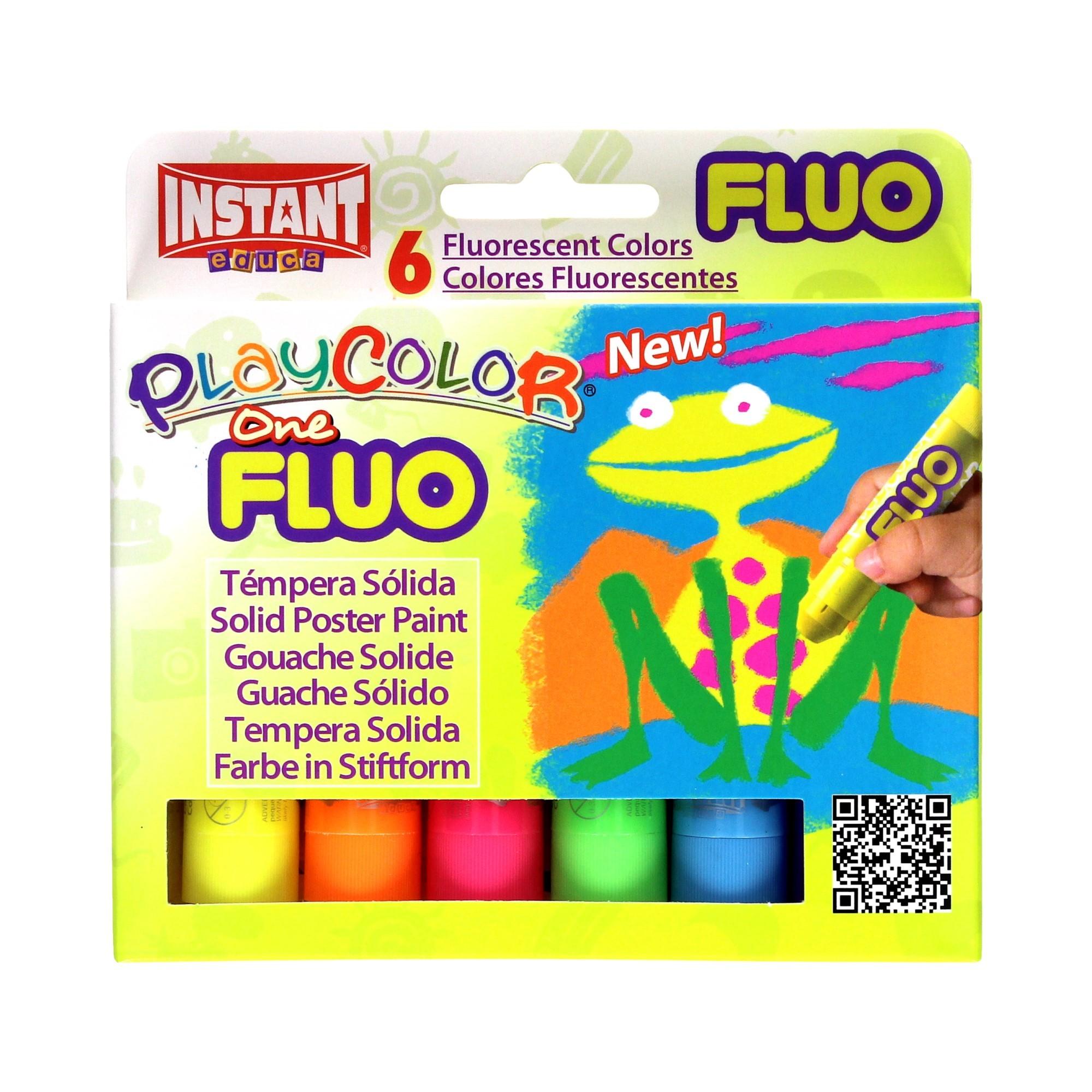 Farby w sztyfcie 6kol fluorescencyjnych Instant Playcolor