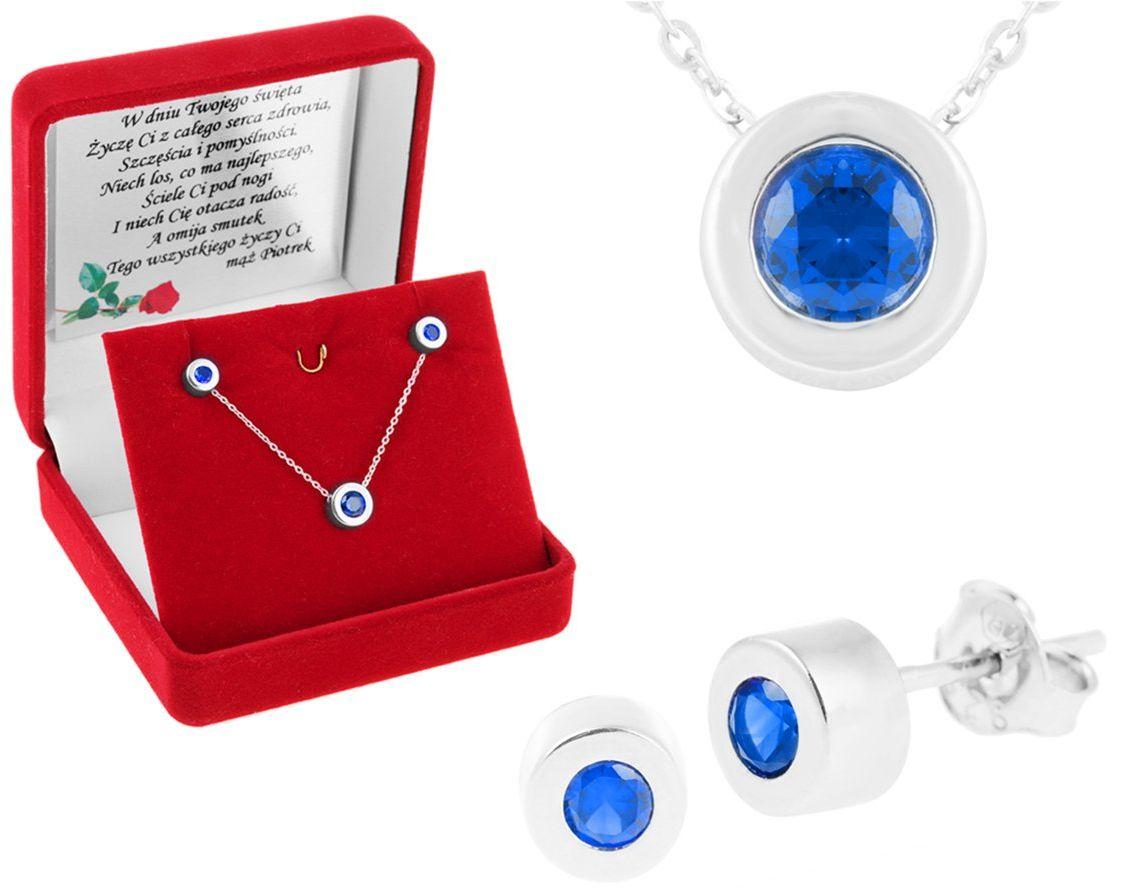 Komplet biżuterii pr. 925 z okrągłą zawieszką i szafirową cyrkonią DEDYKACJA