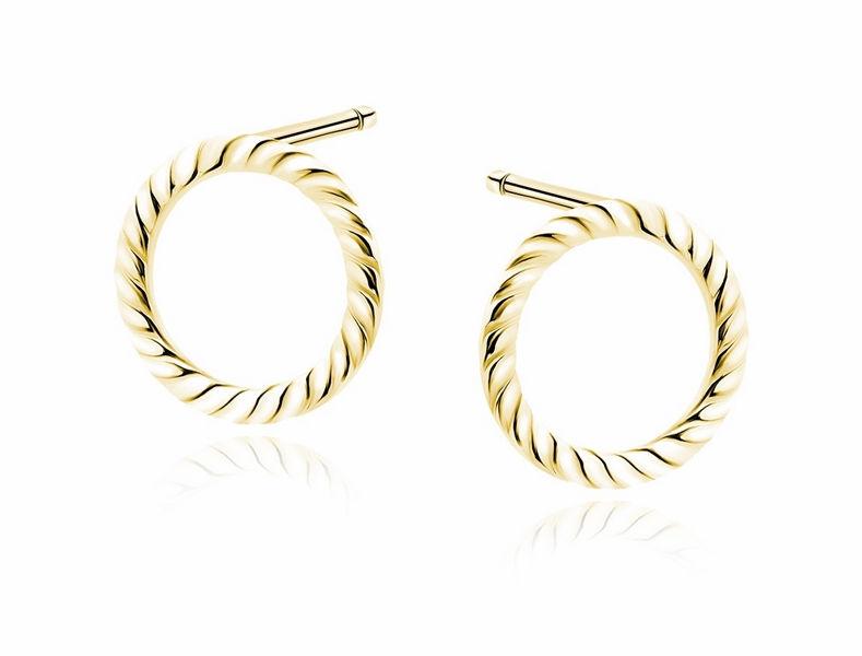 Delikatne pozłacane srebrne gładkie kolczyki celebrytka plecione kółka kółeczka ring srebro 925 Z1836EG