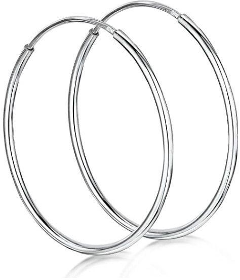 Eleganckie klasyczne srebrne kolczyki gładkie koła kółka 1.8mm 4cm srebro 925 PTRING18_40