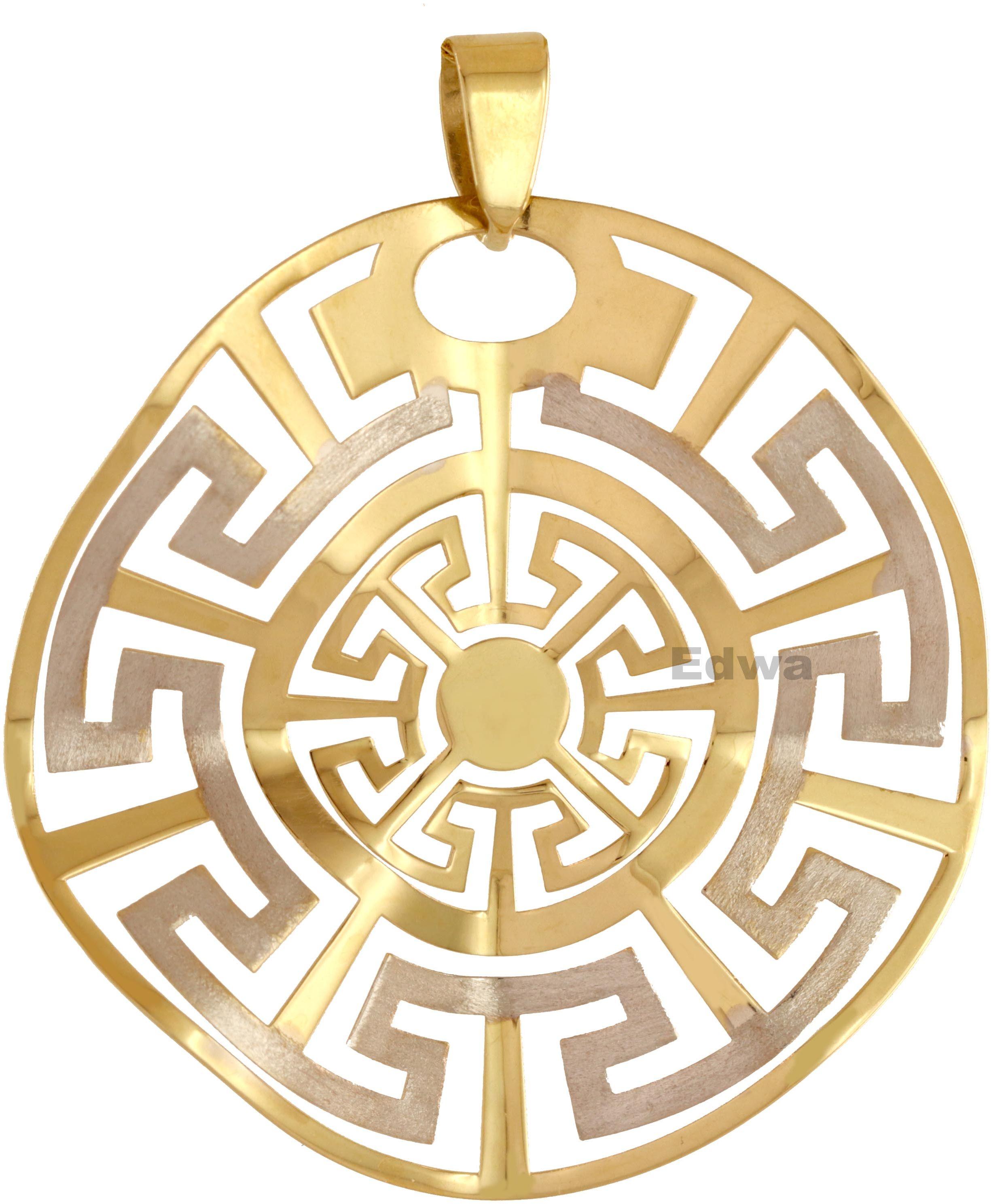Zawieszka złota, falujące Słońce z greckim wzorem pr.585