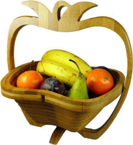 GMMH Kosz składany bambusowy na owoce, miska dekoracyjna, miska na owoce, drewno składany (wzór jabłka/3)