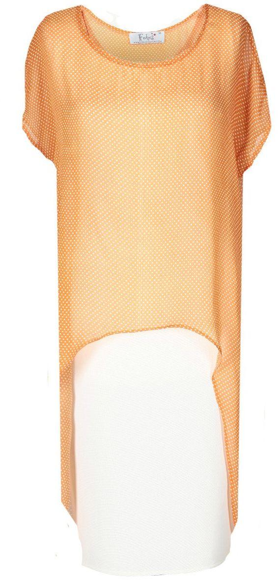 Sukienka FSU620 EKRI+ POMARAŃCZOWY JASNY kropki
