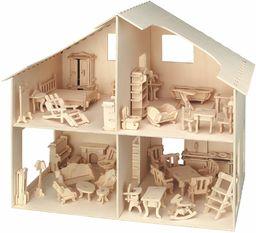 Drewniany domek dla lalek zawiera meble płaski pakiet sklejka samodzielny montaż idealny wróżka dom niemalowany