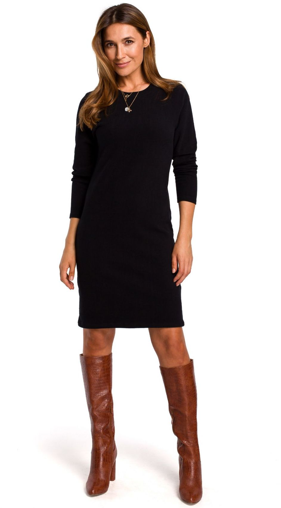 S178 Sukienka swetrowa z długimi rękawami - czarna