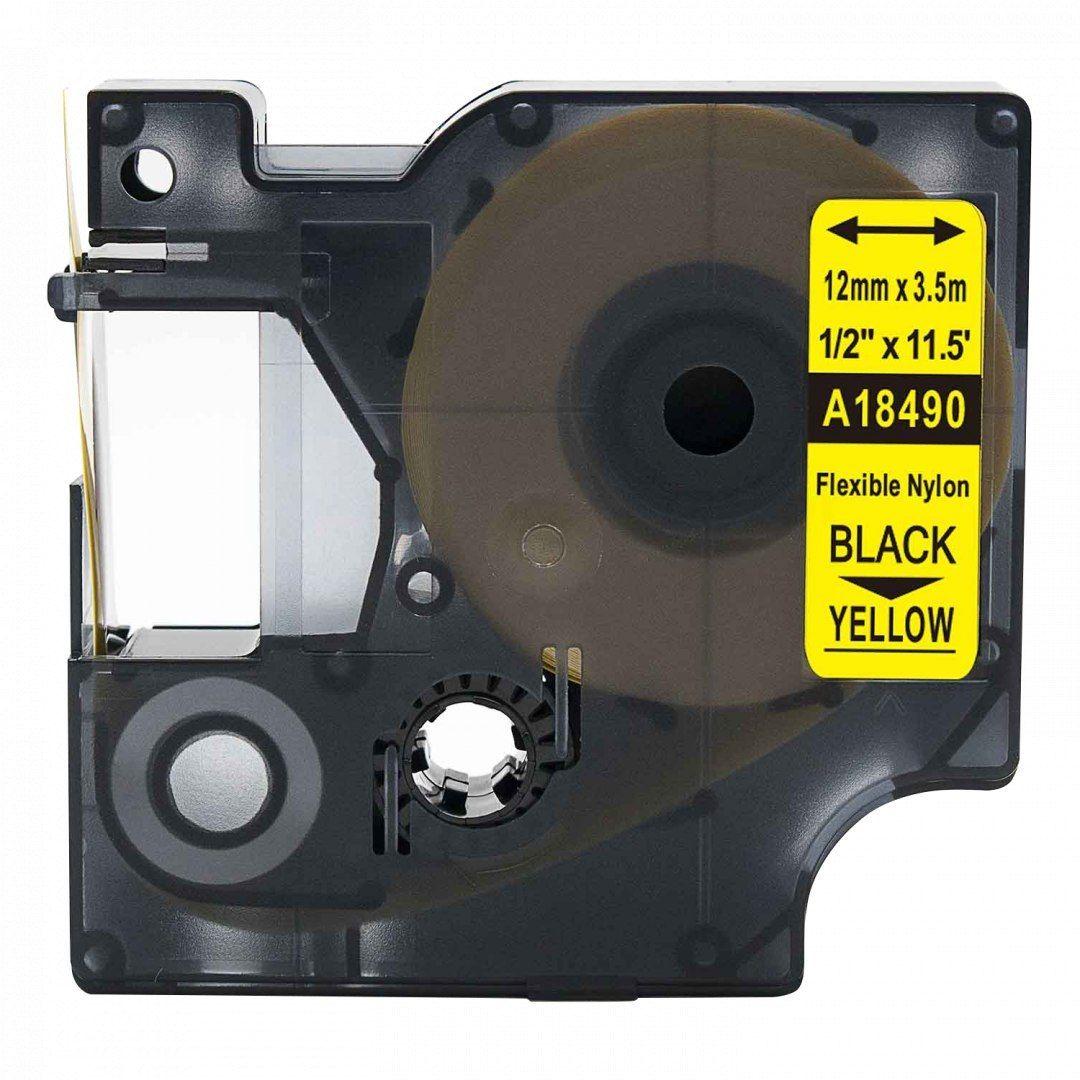 Taśma DYMO Rhino 18490 nylonowa 12mm x 3.5m żółta czarny nadruk S0718080 - zamiennik OSZCZĘDZAJ DO 80% - ZADZWOŃ! 730811399