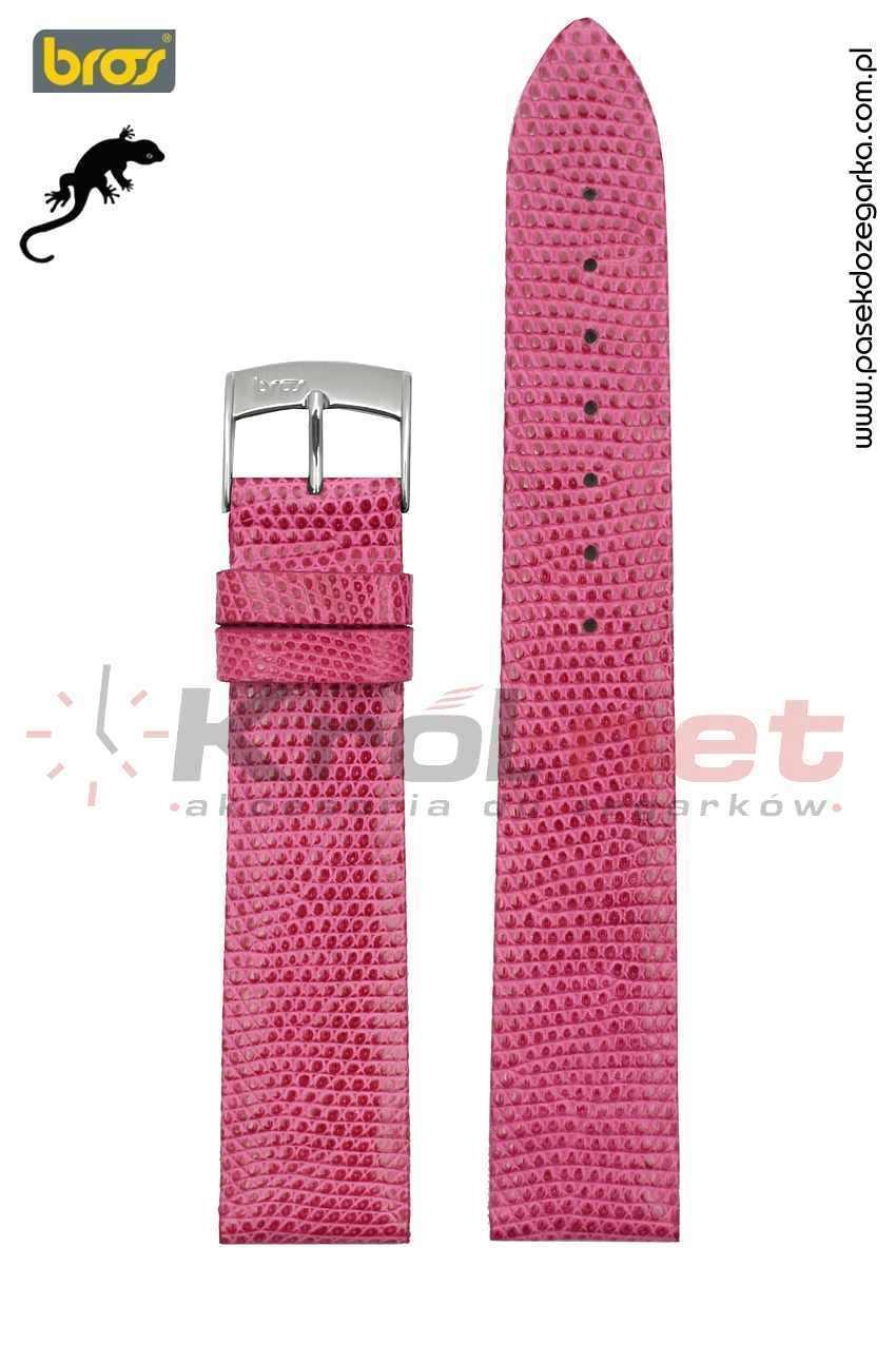 Pasek do zegarka Bros 8231/64/16 - jaszczurka, różowy