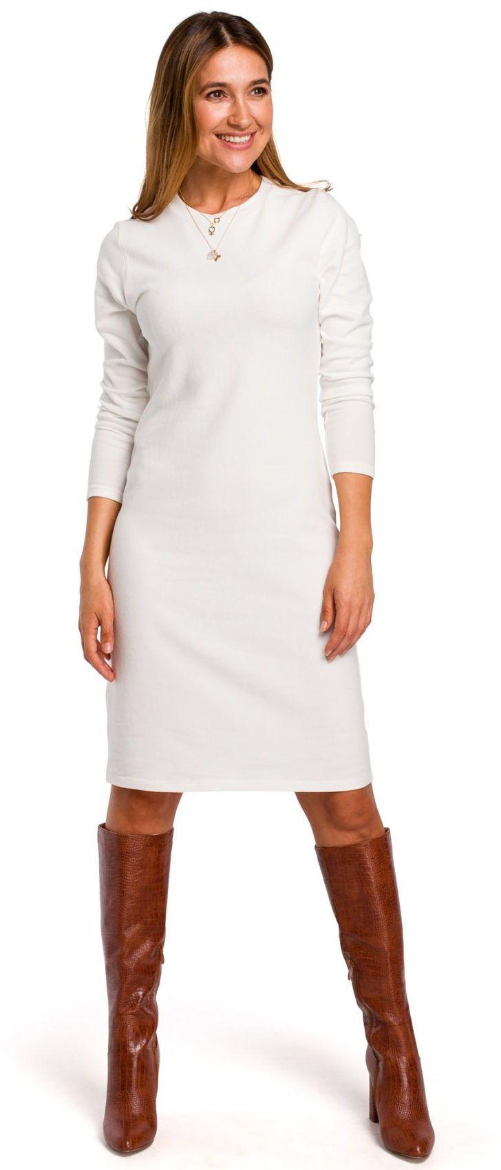 S178 Sukienka swetrowa z długimi rękawami - ecru