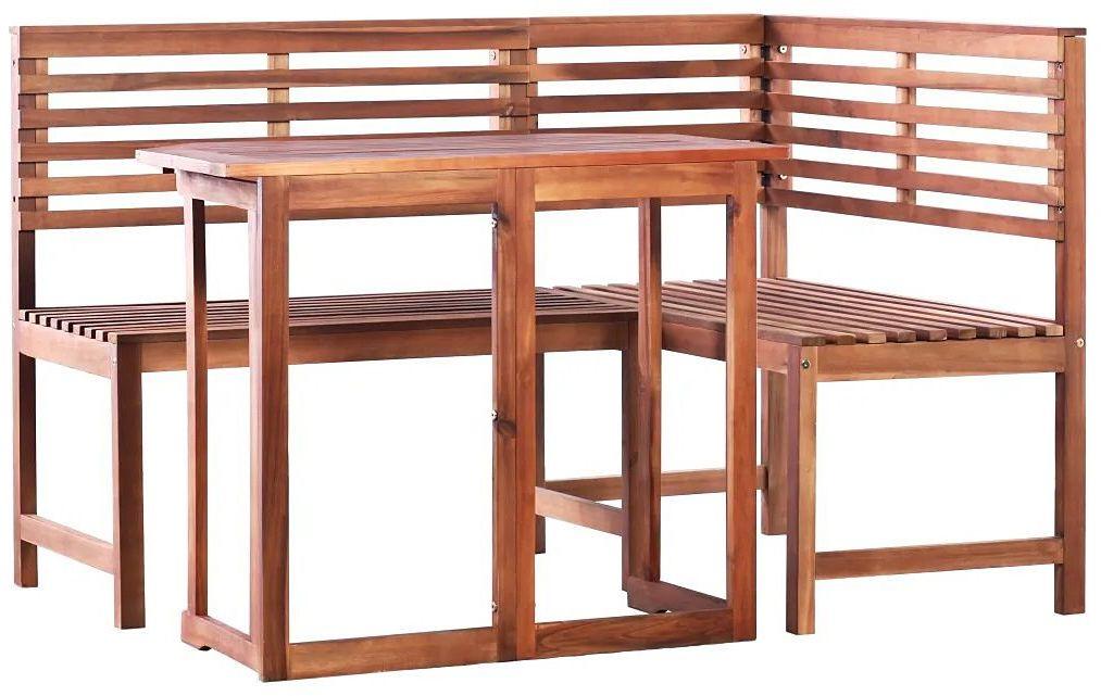 Zestaw drewnianych mebli ogrodowych Alyssa - brązowy