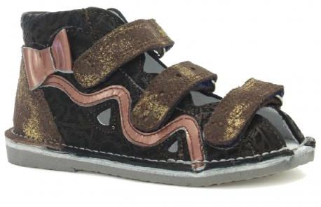 BARTEK 11686-V015 kapcie / sandały profilaktyczne dziewczęce - brązowo złoty