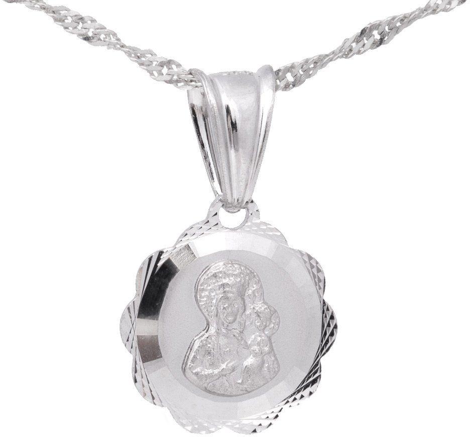 Srebrny medalik Matka Boska Częstochowska Kwiatek PREZENT