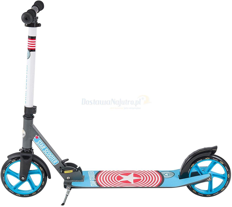 Składana aluminiowa hulajnoga Bike Star 205 podest XXL szaro-niebieska