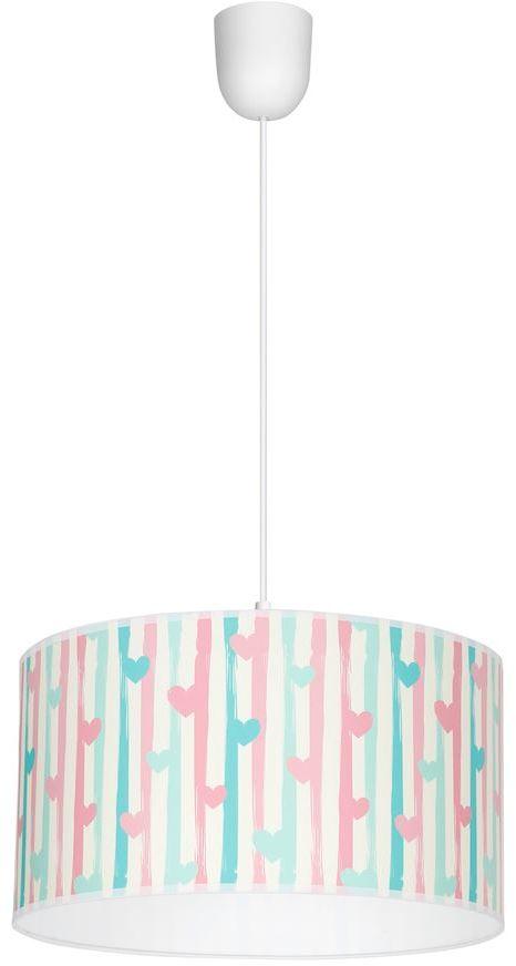 Milagro LOVELY MLP4946 lampa wisząca wielokolorowy klosz z motywem serca regulacja wysokości zwisu 1xE27 30cm
