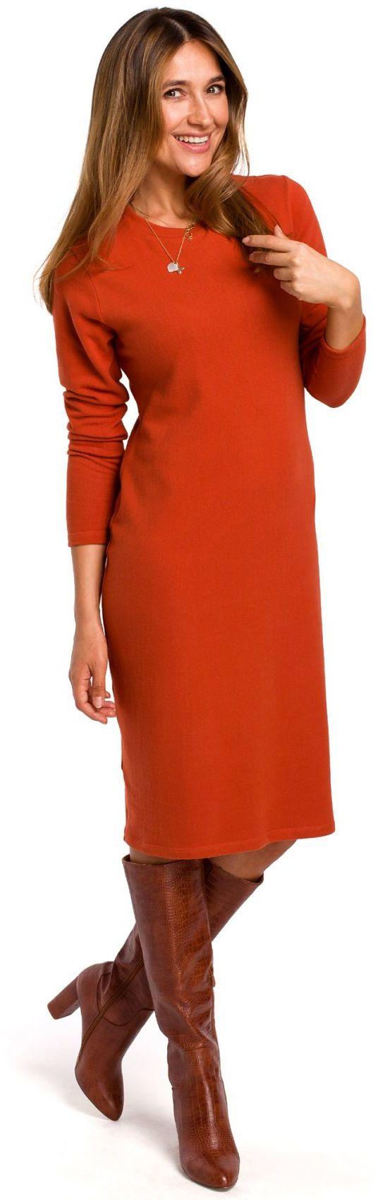 S178 Sukienka swetrowa z długimi rękawami - ruda