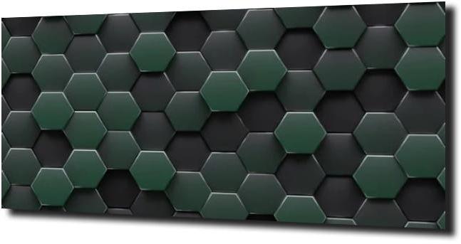 obraz na szkle Heksagon zieleń czerń