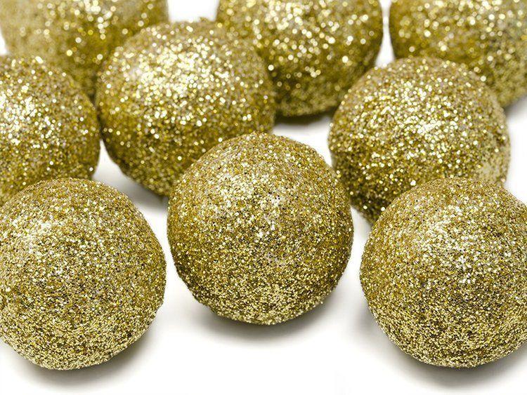 Kule brokatowe złote 3cm 9 sztuk DK3-019