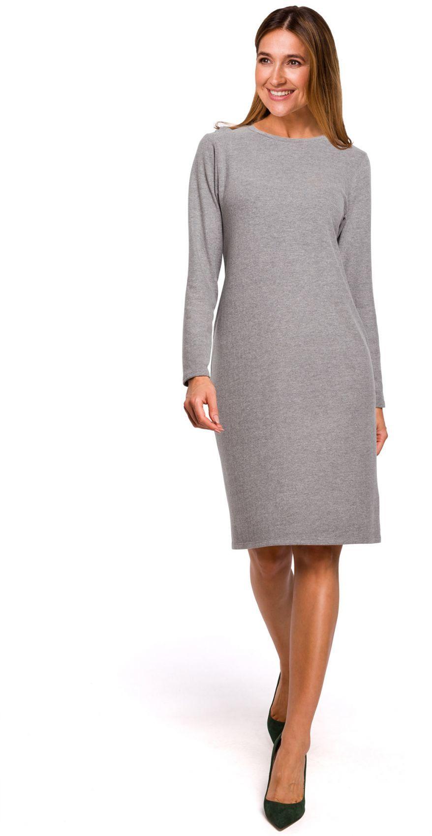 S178 Sukienka swetrowa z długimi rękawami - szara