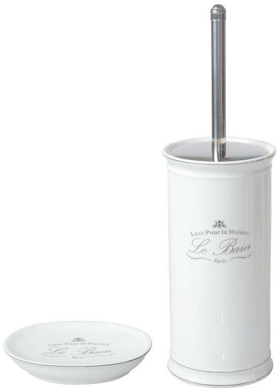 Komplet łazienkowy z porcelany biały - mydelniczka i szczotka WC - Yoka