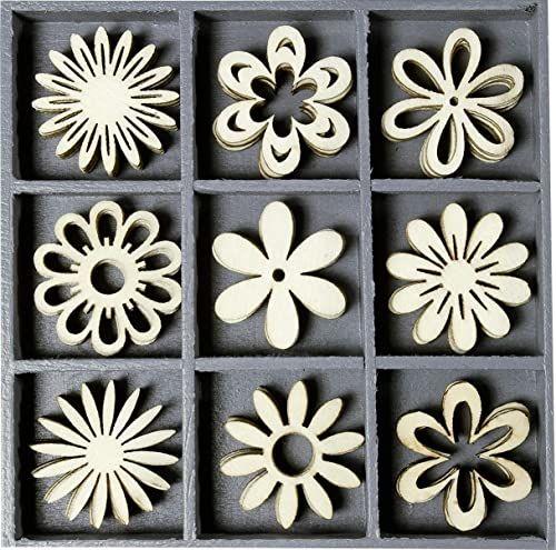 cArt-Us Pudełko z drewnianymi ornamentami fantazyjne kwiaty 10,5 x 10,5 cm, drewno, naturalne
