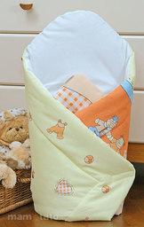 MAMO-TATO Rożek niemowlęcy usztywniony Bociany w ceglastym pomarańczu