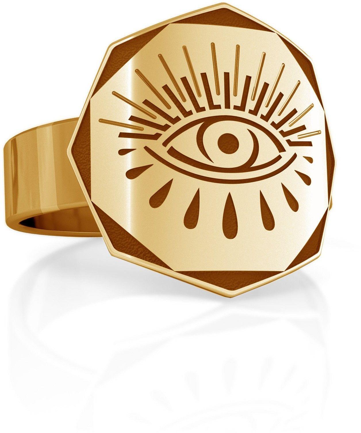 Srebrny sygnet oko Horusa, MON DÉFI, srebro 925 : ROZMIAR PIERŚCIONKA - 15 UK:P 17,33 MM, Srebro - kolor pokrycia - Pokrycie żółtym 18K złotem