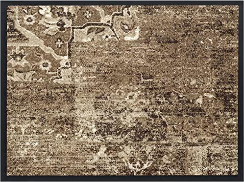HMT Wycieraczka w stylu vintage, poliamid, beżowa, 40 x 60 cm