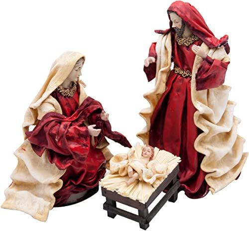 Urodziny z masy papierowej, 3 figurki, kolor: bordowy/beżowy, wymiary: 12 x 12 x 19 cm, San José 10 x 14 x 25 cm, dziecko 7 x 10 x 7 cm, materiał: papier mache (referencja: 0981281281)