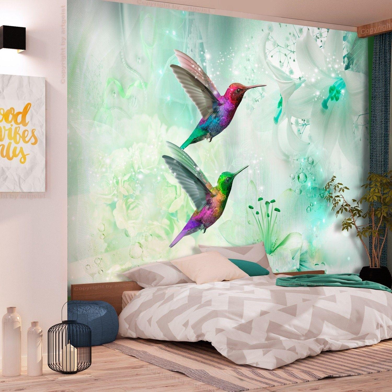 Fototapeta - kolorowe kolibry (zielony)