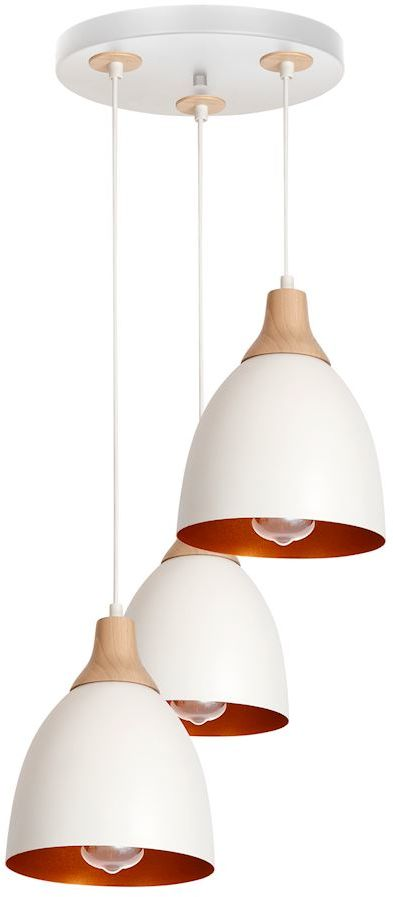 Milagro KANSAS MLP5592 lampa wisząca metalowe klosze biały 3xE27 regulacja wysokości 30cm