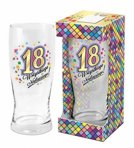 Szklanka do piwa na 18 urodziny Wszystkiego Najlepszego
