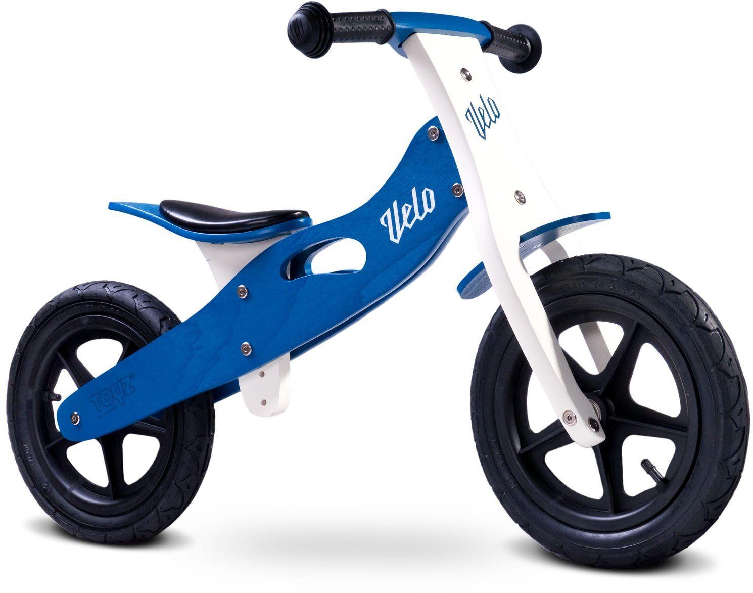 Toyz Velo, drewniane koło jezdne z ogumieniem pneumatycznym, niebieskie