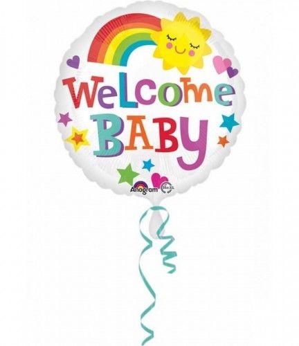 Balon foliowy Welcome Baby z tęczą