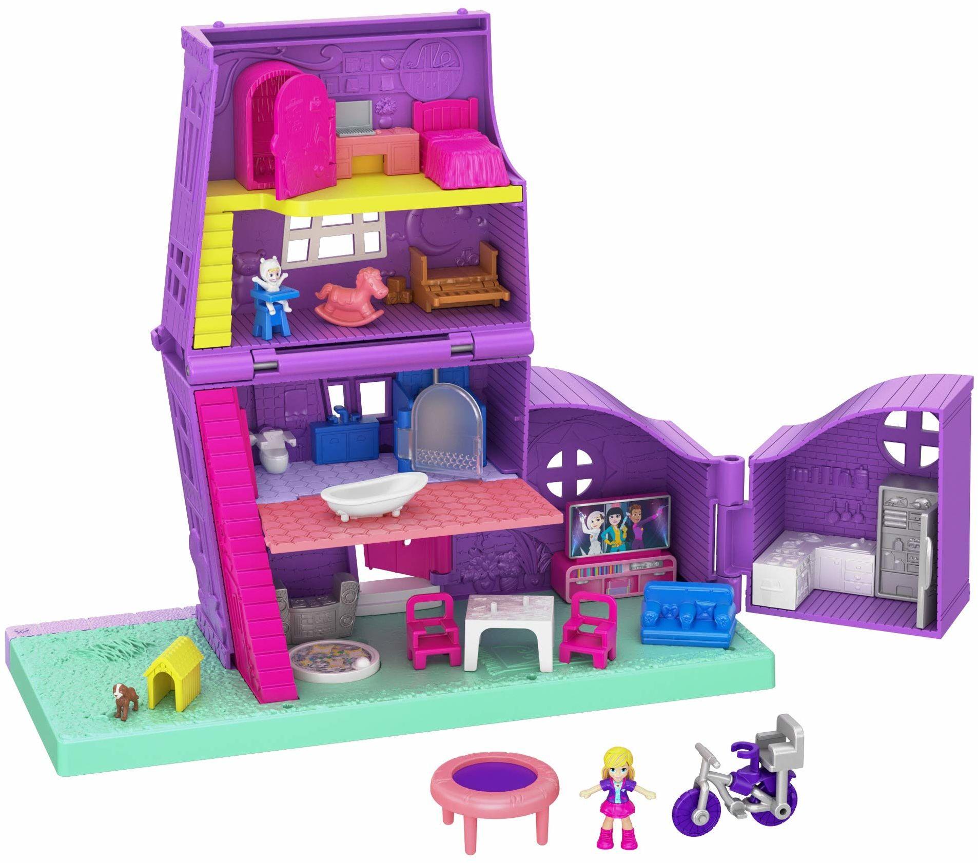 Polly Pocket GFP42 , Domek Polly Pollyville Zestaw Do Zabawy 4 Poziomy, 5 Pomieszczeń, Akcesoria I Małe Lalki Polly I Paxton Pocket Gfp42 ,wielobarwny
